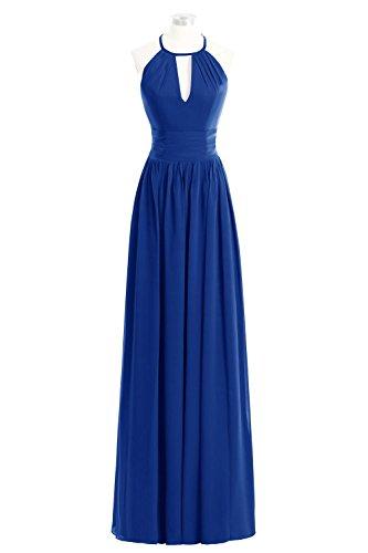 Party Bridesmaid Bridal Blue Prom Dora Chiffon Halter Dress Maxi Wedding Royal WIYqWFApw