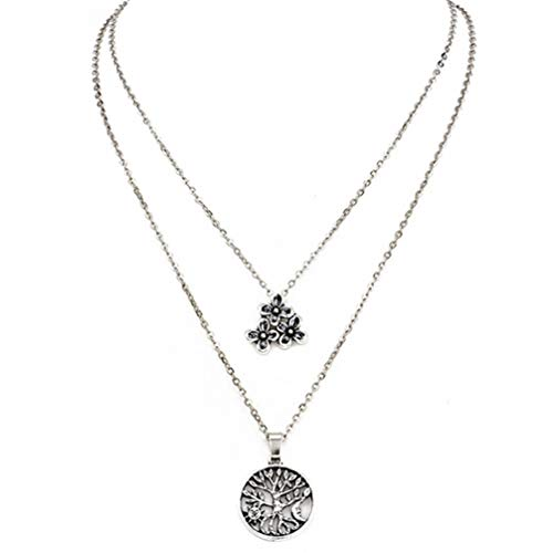 Myhouse Bohemian Flower Tree Pendant Multilayer Necklace Chain Womens Charm Accessories