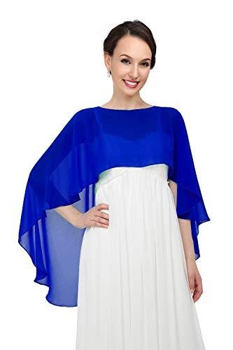 Shawls and Wraps for Evening Dresses Chiffon Wedding Capes Soft Shrugs Royal blue