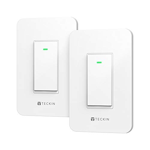 Smart Wi-Fi Light Switch TECKIN Work With Alexa and Google home,Control Lighting from Anywhere, Easy In-Wall Installation,No Hub Required(NOT 2 PACK)