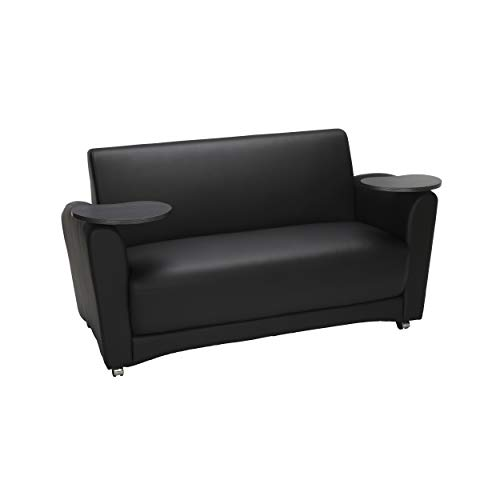 - OFM InterPlay Series Social Seating Sofa with Double Tungsten Tablets, in Black (822-PU606-TNGST)