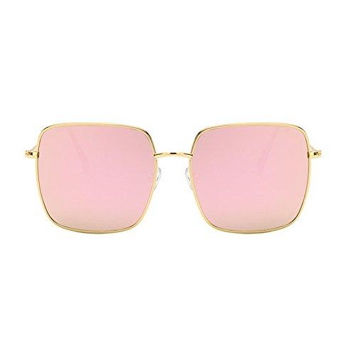 poligonales Sol de Facial Caja Resina Estiramiento Moolo Grande Gafas Retro Moda de cuadradas Color Metal Gafas de de Pink de Coreano Pink Gafas Sol Decoración P7pq1wHP4