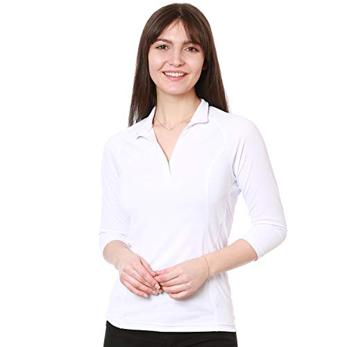 Nozone Tuscany 3/4 Sleeve Sun Protective Women's Equestrian Shirt in White, Small