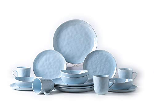 (Pangu 16-Piece Dinnerware Sets, MINIMALISM, Handmade Irregular Shape Look, Service for 4 (16 piece, Light blue))