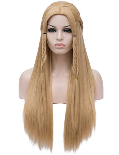 (OneUstar Women's Long Straight Blonde Wig Middle Parting Heat Resistant Synthetic Full Hair Party Cosplay Costume Wig 30)