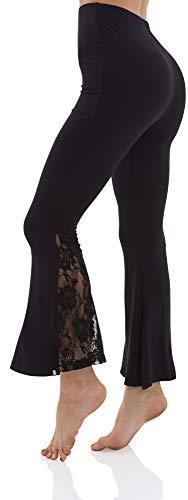 LazyCozy Women's Bamboo Lounge Pants Lace Yoga Pants, Black, - Yoga Bamboo Pants