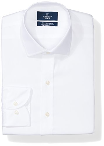 (BUTTONED DOWN Men's Slim Fit Stretch Poplin Non-Iron Dress Shirt, White, 16.5