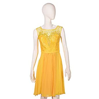 Dekelte Yellow Mixed Special Occasion Dress For Women