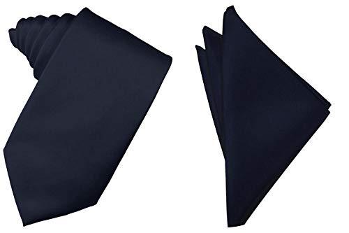 (Oliver George Solid Pattern NeckTie Set (Dark Navy Blue))