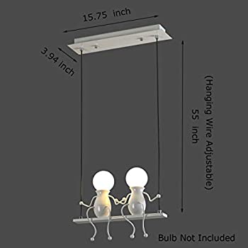 Creative LED Pendant Lighting Modern Double Little People Ceiling Pendant Light Fixture Adjustable Hanging Lights for Bedroom Iron Cartoon Doll Chandeliers Dining Rooms 2×E26 Baking Paint (White, Two)