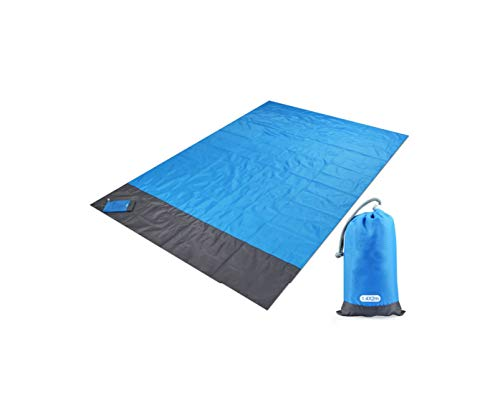 Picnic Blanket 200x210cm Pocket Picnic Waterproof Beach Mat Sand Free Blanket Camping Outdoor Picnic Tent Folding Cover Bedding,Blue,200x140cm