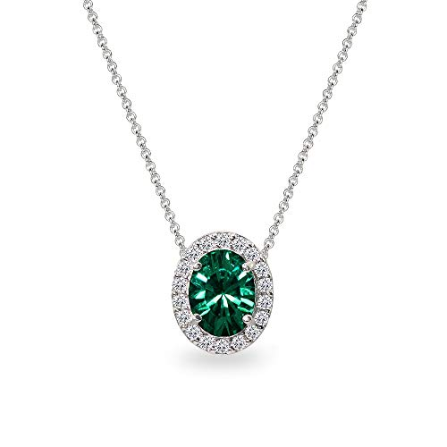 Sterling Silver Green 8x6mm Oval Halo Slide Pendant Necklace Made with Swarovski -
