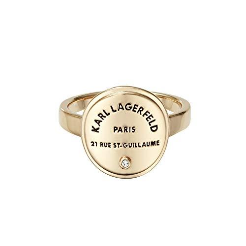 KARL LAGERFELD - Rue St. Guillaume Medallion Ring (Gun Metall - Schwarz) - mit Swarovski-Stein - Fingerring, Schmuck für Frauen