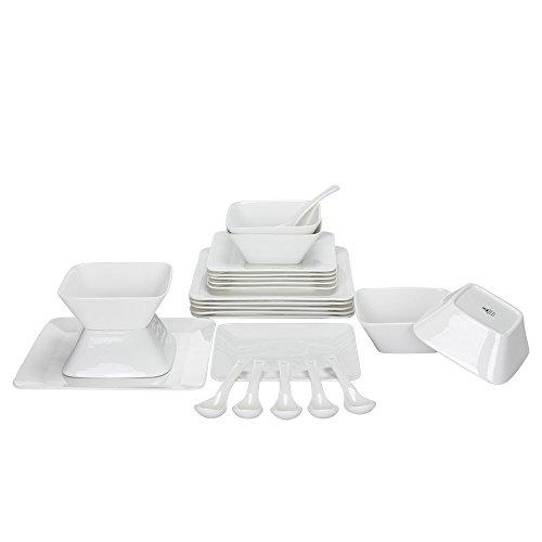 Porlien 24-Piece Dinnerware Set, Pure White, Square, Service for 6