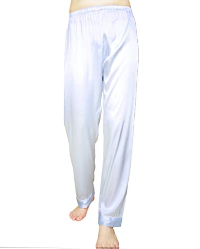 - Wantschun Womens Satin Silk Sleepwear Long Pajamas Pants Nightwear Loungewear Pj Bottoms Trousers Light Blue US Size XXXL