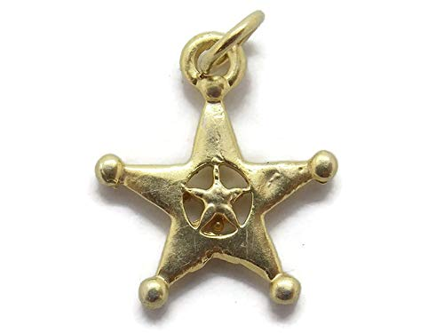 Police Badge Pendant Charm 14k Yellow Gold!!
