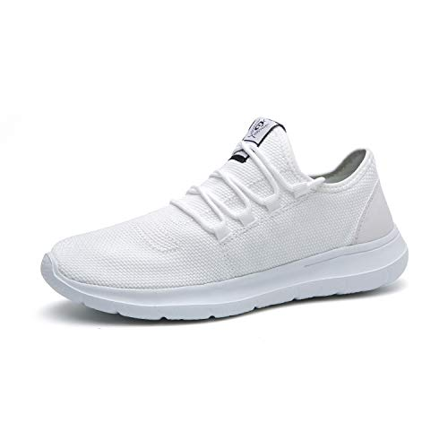 XUNMU Men's Walking Shoes Mesh Casual Athletic Shoes Running Shoes Lightweight Breathable Fashion Sneakers White 40