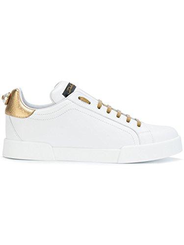 Dolce e Gabbana Women's Ck0150ah01189662 White/Gold Leather Sneakers