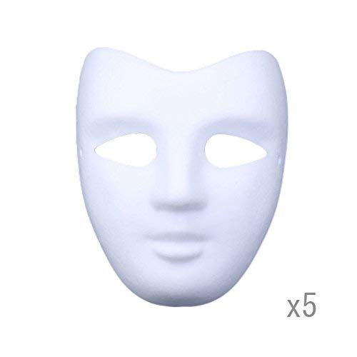 Meimasks DIY White Paper Mask Pulp Blank Hand Painted Mask Personality Creative Free Design Mask 5pcs (V face)]()