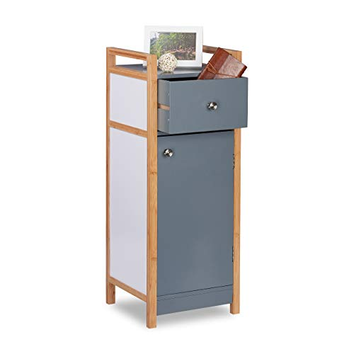 Relaxdays Mini Cabinet with Drawer, Bamboo Frame, Compartment with Door, Adjustable Shelf, Handles, This Low Household Looks Anywhere, b, HxWxD: 81x31x29 cm