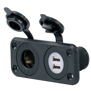 The Amazing Quality Marinco SeaLink Deluxe Dual USB Charger & 12V Receptacle By Wire N (Deluxe 12 Volt Receptacle)