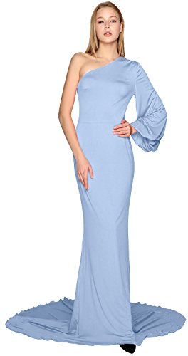 Gown Sleeve Dress Evening Himmelblau Formal Prom One Shoulder Mermaid Jersey MACloth Long BqwpvHnT