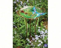 2 PACK Sculpted Butterfly Birdbath with Stand by Evergreen Enterprises