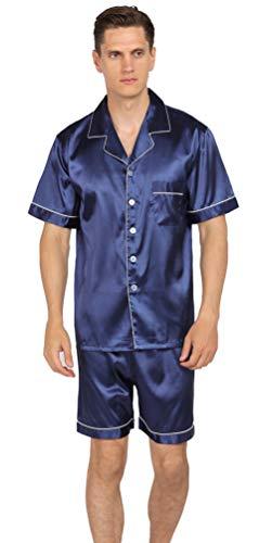 YIMANIE Mens Silk Satin Pajamas Set Short Sleeve and Shorts Classic Sleepwear Loungewear Navy (Silk Satin Pajama)