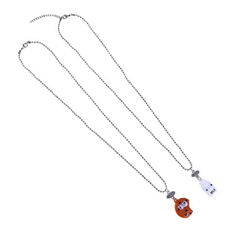 Haluoo Childish Lovely Pendant Necklace 2 Pcs,Cute Cartoon Milk Bottle and Cookie Pendant Silver Plated Long Ball Chain Necklace for Teen Girls Best Friends Birthday Girls (Best Buds)