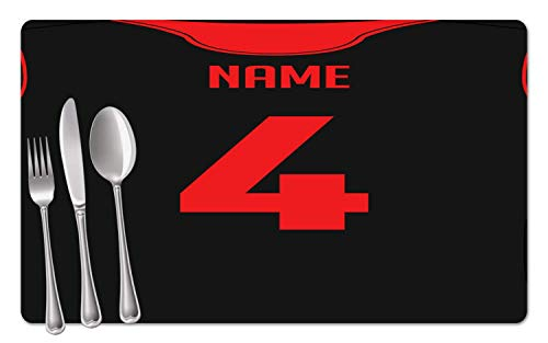 (BRGiftShop Personalized Basketball Jersey Set of 4 Table Placemats)