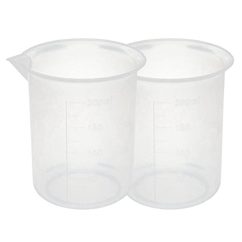 SODIAL Kitchen Lab Graduated Beaker Clear Plastic Measuring Cup Thicken with Cap Measuring Jug 200mL 2pcs