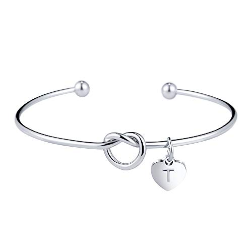 (Initial Knot Bangle Bracelet Silver for Women Girls Letter T for Bridesmaids Proposal Jewelry Personalized Wedding Gift)