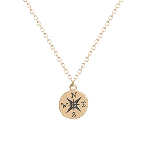 Antique Vintage Cross (Antique Vintage Brass Tone Round Cross Compass Direction Long Pendant Chain Men Unisex Necklace)
