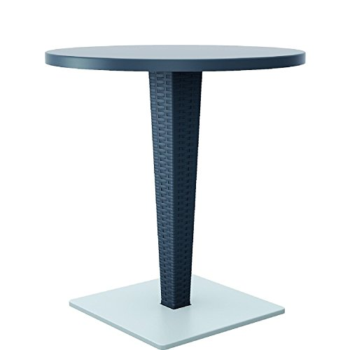 Compamia Riva Werzalit Top Round Dining Table in Dark Gray