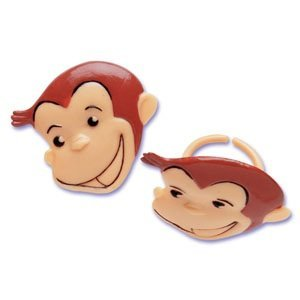 Bakery Crafts - Curious George Cupcake Rings, Food Safe, Approx (1.5 Inches), (24 Count)