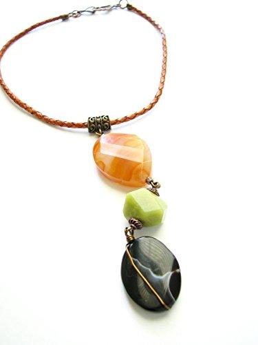 Orange Jade Necklace (Orange Black Agate Large Gemstone Choker Necklace Pendant Green Jade Stone Leather 16.5