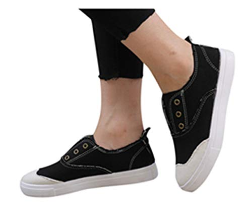 Womens Flat Shoes Summer Slip On Sports Sneakers Teen Studdents Boat Shoes Outdoor Running Pumps Shoes by Gyouanime Black