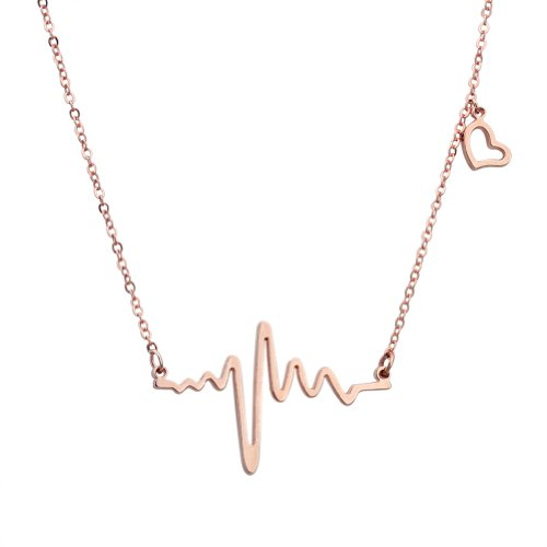 ELBLUVF 18k Rose Gold Plated Stainless-steel Heart Beat Love Cardiogram Necklace -