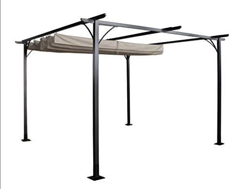 Outsunny Pérgola de jardín parasol retráctil marco negro cortinas beige, 350 x 350 x 230 cm: Amazon.es: Jardín