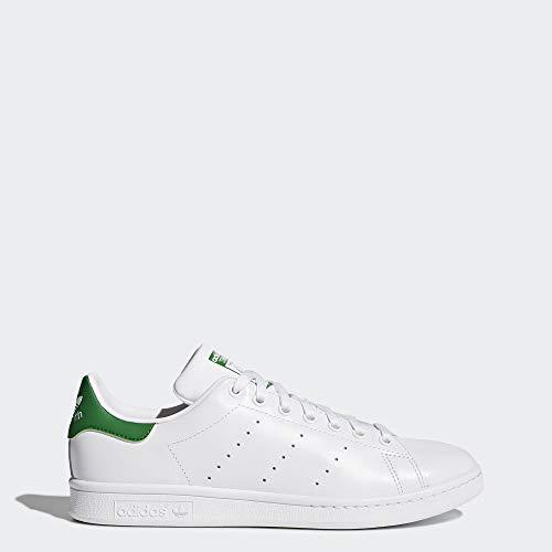 adidas Originals Men's Stan Smith Leather Sneaker, Footwear White/Core White/Green, 12 (Stan Smith Sleek)