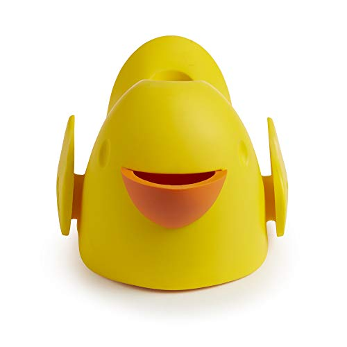 """31DZ3rmfpYL Munchkin Bubble Beak Bath Spout Cover Safety Guard, Yellow    """"Ouchie."""" is every parent's least favorite word when bathing their child. Protect your little one from bath time bumps and burns with this snug-fitting spout guard. With an adjustable strap, this spout guard fits to most faucets and protects your little one's head from bumps or burns. And when you need to turn the showerhead on, you don't have to remove Beak. The open-top design gives you access to the diverter at all times. There's even a bubble bath dispenser for sudsy fun. So if you want to ensure your little one's safety and let the good times flow, Beak is sure to fit the bill."""
