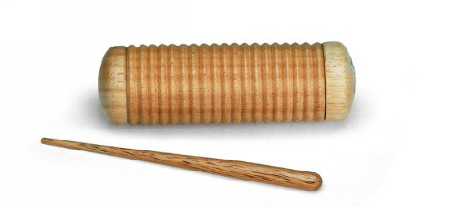 Nino Percussion Wooden Guiro with Shaker Filling and Scraper - NOT MADE IN CHINA - for Classroom Music, 2-YEAR WARRANTY (NINO520) ()
