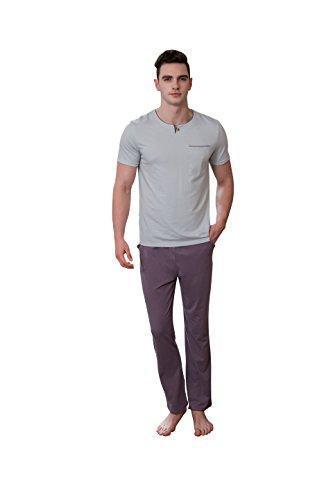 QIANXIU Men Solid Color Sleepwear Modal Pajamas Loose Home Clothing Pants Shirt - Size Chart Caliber