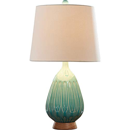 Mid Century Modern Table Lamps Set of 2 Ceramic Teal ...