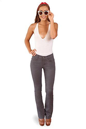 Bebop Women's Size 15, Charcoal, 5 Pocket Bootcut Stretch Cotton Twill Chino (Leg Everyday Chino Pants)