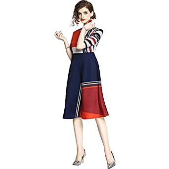 Y&D Casual Dress For Women With Geometic Pattern Knee Length Dress -XXL