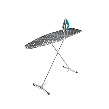 Homz Contour Ironing Board, Extra Stable Legs, 54  x 14  Adjusts to 35  Tall, Gray Lattice