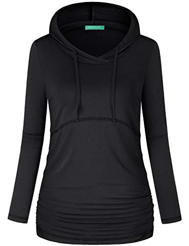 Kimmery Plain Hoodies for Women ,Knit Hoodie Fitness Shirts Quick-Drying Pullover Long Sleeve Drawstring Flattering Contrast Hem Banded Sweatshirt Outside Beach Walking Travel Vacation Wear Black L (Knit Hoodies For Women)