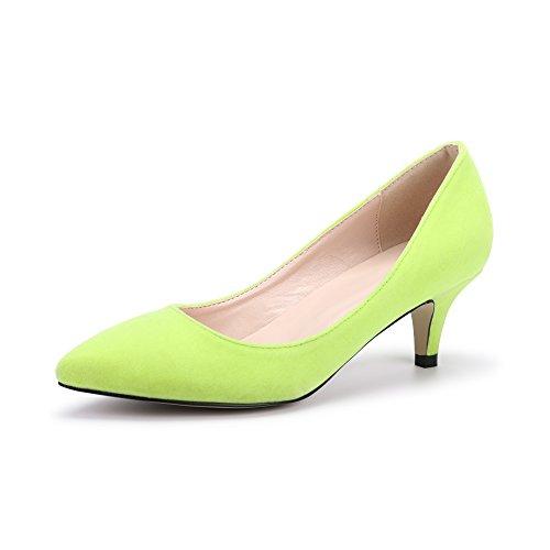 OCHENTA Mujer Moda Clasico Terciopelo Bajo Zapatos de tacón alto Amarillo