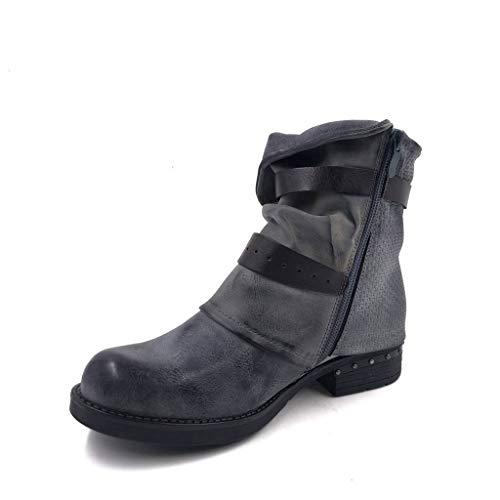 Tréssé Intérieur Chaussure 3 Gris Femme Lanière Talon Cm Bottine Clouté Mode 5 Fourrée Motard Couverte Cavalier Bloc Haut Angkorly 0qaCwC